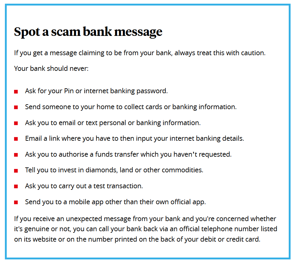 Text messages from your bank